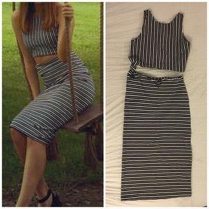 Zara Two Piece Knot Stripe Dress